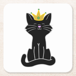 Sitting Black Cat with Gold Crown Square Paper Coaster