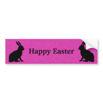 Sitting Black Silhouette Easter Rabbits Deep Pink Bumper Sticker
