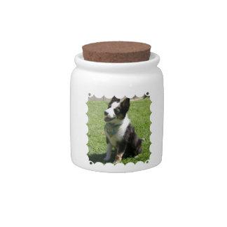 Sitting Border Collie Candy Jar