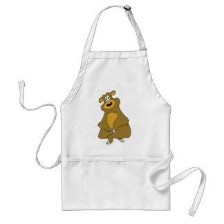 Sitting Brown Bear Cartoon Adult Apron