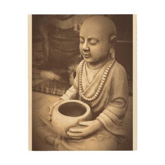 Sitting Buddha Monk Statue Wood Wall Art
