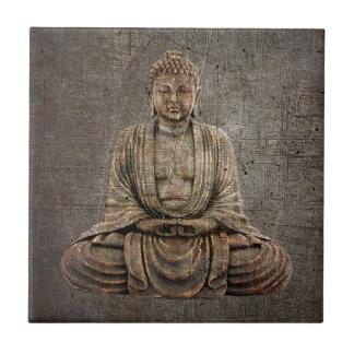 Sitting Buddha On Distressed Metal Background Ceramic Tile