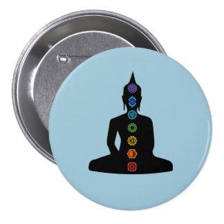 Sitting Buddha Seven Chakras Pinback Button