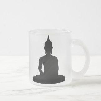 Sitting Buddha Silhouette 10 Oz Frosted Glass Coffee Mug