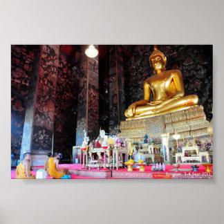 Sitting Buddha with praying monks Poster