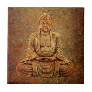 Sitting Buddha With Stone Background Ceramic Tile