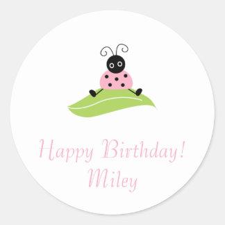 sitting bug on leaf, Happy Birthday!Miley Classic Round Sticker