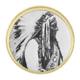 Sitting Bull, a Hunkpapa Sioux Gold Finish Lapel Pin