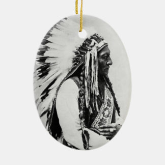 Sitting Bull, a Hunkpapa Sioux Double-Sided Oval Ceramic Christmas Ornament