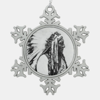 Sitting Bull, a Hunkpapa Sioux Snowflake Pewter Christmas Ornament