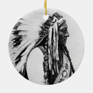 Sitting Bull, a Hunkpapa Sioux Double-Sided Ceramic Round Christmas Ornament