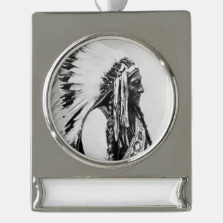 Sitting Bull, a Hunkpapa Sioux Silver Plated Banner Ornament