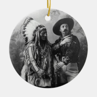 Sitting Bull and Buffalo Bill Portrait from 1885 Double-Sided Ceramic Round Christmas Ornament