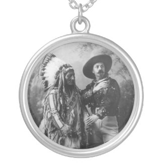 Sitting Bull and Buffalo Bill Portrait from 1885 Round Pendant Necklace