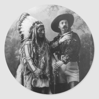 Sitting Bull and Buffalo Bill Portrait from 1885 Classic Round Sticker