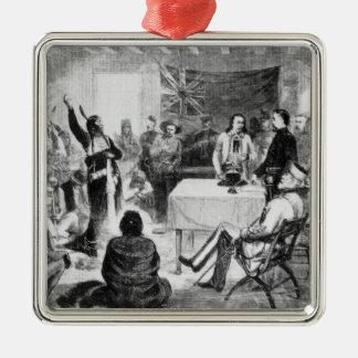 Sitting Bull Council, 1877 Square Metal Christmas Ornament