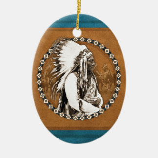 Sitting Bull Designs Double-Sided Oval Ceramic Christmas Ornament