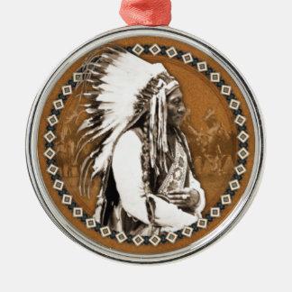 Sitting Bull Designs Round Metal Christmas Ornament
