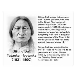 Sitting Bull FACT CARD Post Card