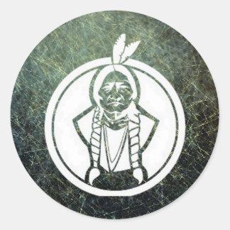 'Sitting Bull III' Round Stickers