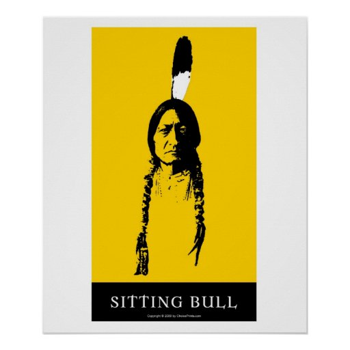 Sitting Bull in yellow Posters