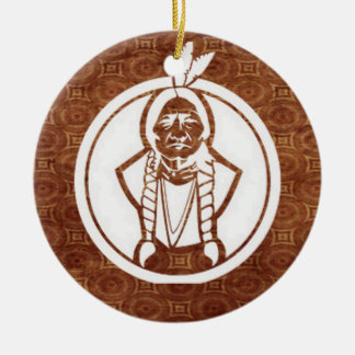 'Sitting Bull IV' Double-Sided Ceramic Round Christmas Ornament