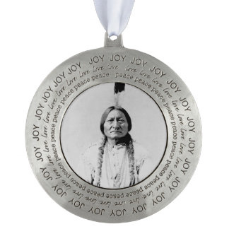 Sitting Bull Round Pewter Christmas Ornament