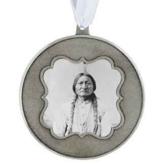Sitting Bull Scalloped Pewter Christmas Ornament