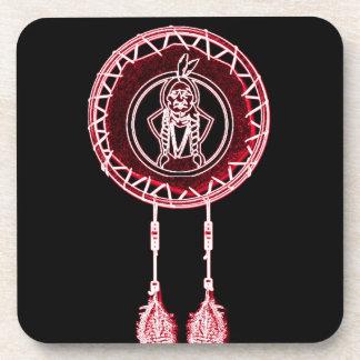 'Sitting Bull Maroon' Beverage Coaster