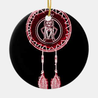 'Sitting Bull Maroon' Double-Sided Ceramic Round Christmas Ornament
