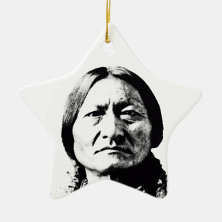 Sitting Bull Double-Sided Star Ceramic Christmas Ornament