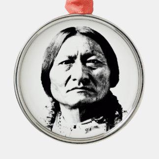 Sitting Bull Round Metal Christmas Ornament