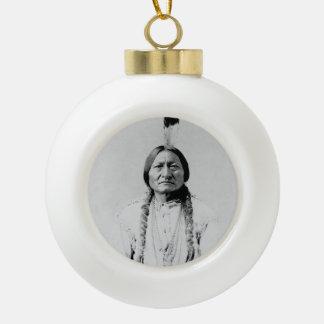 Sitting Bull Ceramic Ball Christmas Ornament