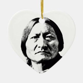 Sitting Bull Double-Sided Heart Ceramic Christmas Ornament