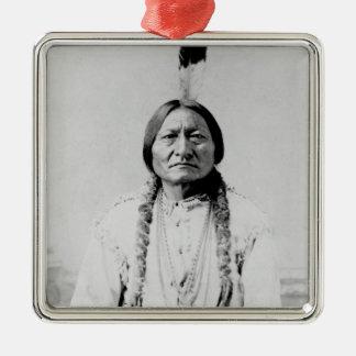 Sitting Bull Square Metal Christmas Ornament