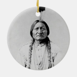 Sitting Bull Double-Sided Ceramic Round Christmas Ornament