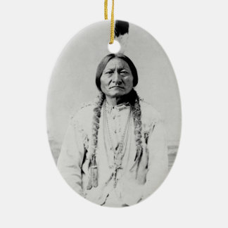 Sitting Bull Double-Sided Oval Ceramic Christmas Ornament