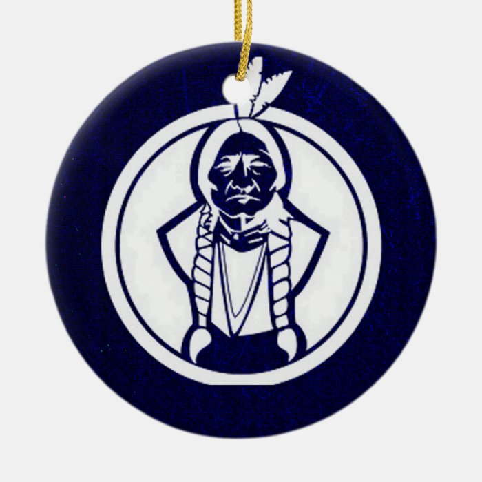 'Sitting Bull Outline' Ceramic Ornament