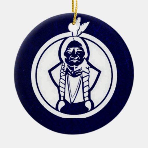 'Sitting Bull Outline' Christmas Tree Ornament