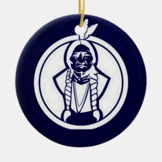 'Sitting Bull Outline' Double-Sided Ceramic Round Christmas Ornament