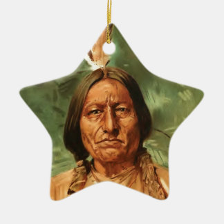 Sitting-Bull painted by William Gilbert Gaul 1890 Double-Sided Star Ceramic Christmas Ornament