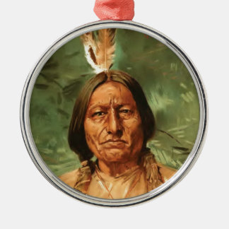 Sitting-Bull painted by William Gilbert Gaul 1890 Round Metal Christmas Ornament