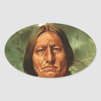 Sitting-Bull painted by William Gilbert Gaul 1890 Oval Sticker