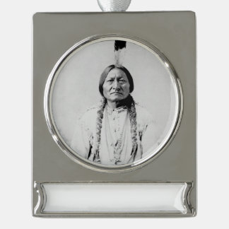 Sitting Bull Silver Plated Banner Ornament