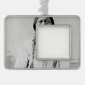 Sitting Bull Silver Plated Framed Ornament