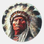 Sitting Bull Runder Sticker