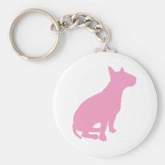 Sitting Bull Terrier (pink) Basic Round Button Keychain