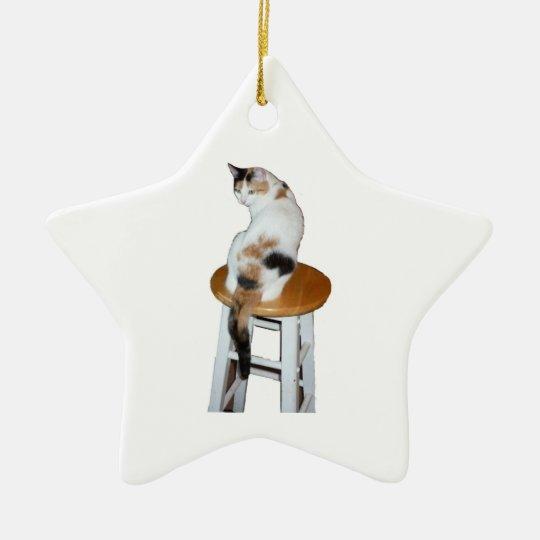 Sitting Calico Cat Ceramic Ornament