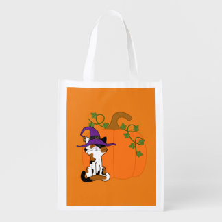 Sitting Calico Cat with Halloween Pumpkin Reusable Grocery Bag
