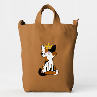 Sitting Calico Kitten with Gold Crown Duck Canvas Bag